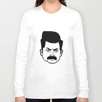 ron swanson Long Sleeve T-shirts featuring Ron Swanson by bookotter