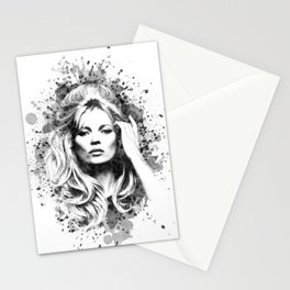 Watercolor Sixties Style Kate Moss Stationery Cards
