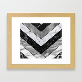 Shimmering mirage - grey marble chevron Framed Art Print