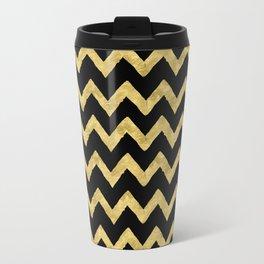 Chevron Black And Gold Travel Mug