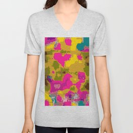 psychedelic geometric painting texture abstract in pink yellow brown blue Unisex V-Neck