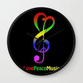 Love peace music hippie treble clef Wall Clock