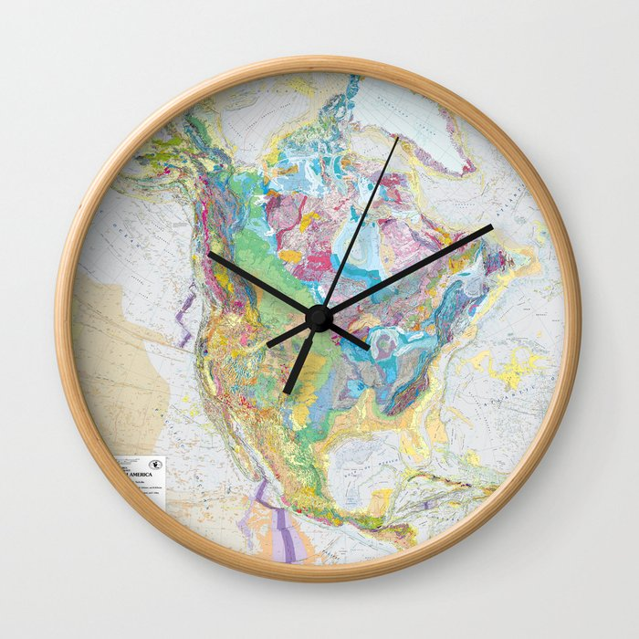 Usgs Geological Map Of North America Wall Clock By Fineearthprints