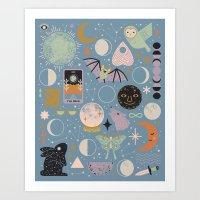 Lunar Pattern: Blue Moon Art Print