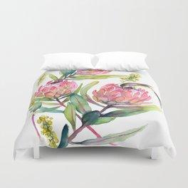 King Protea and Bird Watercolor Illustration Botanical Design Duvet Cover