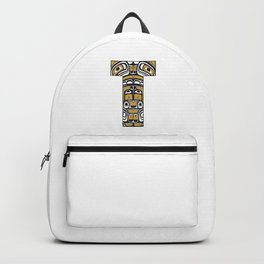 Northwest Pacific Coast American Native Totem Letter T Backpack