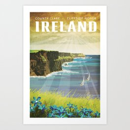 Ireland, Cliffs of Moher - Vintage Style Travel Poster Art Print