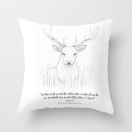 Psalm 42:1 Stag Throw Pillow