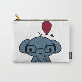 cute elephant with glasses holding a balloon Carry-All Pouch