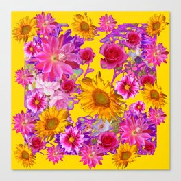 GOLDEN FLORAL TAPESTRY OF ASSORTED PINK  FLOWERS Canvas Print