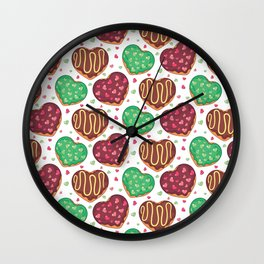 Heart doughnuts Wall Clock
