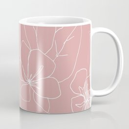 Floral Drawing on Pale Pink Coffee Mug