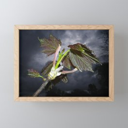 SYCAMORE LEAVES WITH STORMY SPRING SKY Framed Mini Art Print