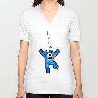 megaman V-neck T-shirts featuring Megaman Tetris by D-fens