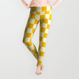 Cream Yellow and Amber Orange Checkerboard Leggings