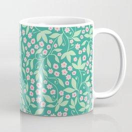 Green pink floral tendril Coffee Mug