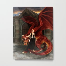 Dragon Lady - Watch out, I have backup... Metal Print