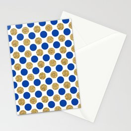 Pastel pink navy blue faux gold glitter polka dots Stationery Cards