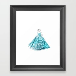 Girl In Teal Alcohol Ink Ball Gown Framed Art Print