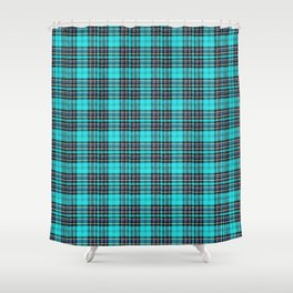Lunchbox Blue Plaid Shower Curtain
