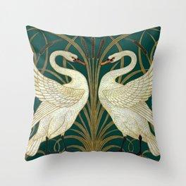 Walter Crane's Swan, Rush, Iris Throw Pillow