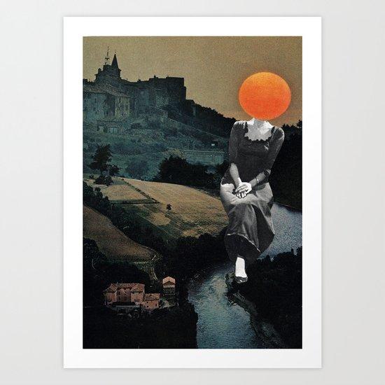Lady Moon Head Art Print