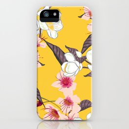 Japanese Cherry Blossoms (yellow background) iPhone Case