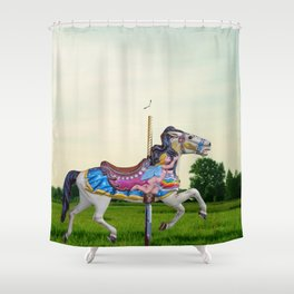 Wood horse Nature Shower Curtain