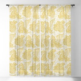 Pegasus Pattern Mustard Yellow Sheer Curtain
