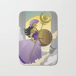 greek roman goddess athena minerva with shield and staff in the sky Bath Mat