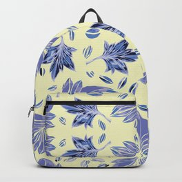 Autumn leaves in light yellow and blue Backpack