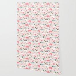 Flamingos and waterlilies Wallpaper