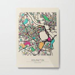 Colorful City Maps: Arlington County, Virginia Metal Print
