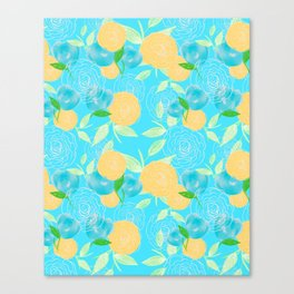 06 Yellow Blooms on Blue Canvas Print