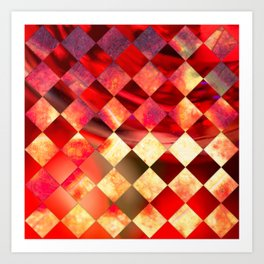 Pattern of diamonds in red and yellow nature colors Art Print