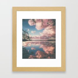Lake and Pink Clouds Framed Art Print