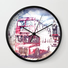 City-Art LONDON Red Buses on Westminster Bridge Wall Clock