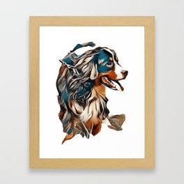 A dog of the Berner Sennenhund breed during a walk on the street        - Image Framed Art Print