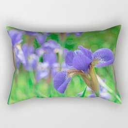 Group of purple irises in spring sunny day Rectangular Pillow