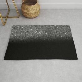 Black & Silver Glitter Ombre Rug