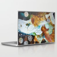 "flora bowley Laptop & iPad Skins featuring ""Two Hearts"" Original Painting by Flora Bowley by Flora Bowley"