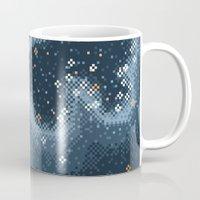8bit Mugs featuring Grey Rift Galaxy (8bit) by Sarajea
