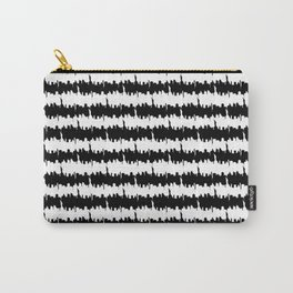 Black and White Stripes NYC Skyline Carry-All Pouch