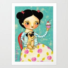 Pug wants Cupcake Treats artwork by Tascha Art Print