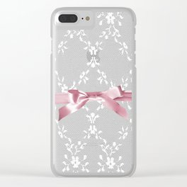 White lace & Pink ribbon Clear iPhone Case