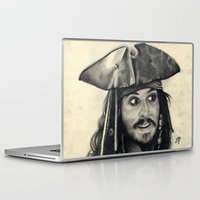 jack sparrow Laptop & iPad Skins featuring Captain Jack Sparrow ~ Johnny Depp Traditional Portrait Print by bianca.ferrando