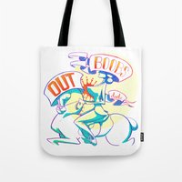 boobs Tote Bags featuring Boobs Out, Dudes by DinoFlamingo