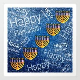 Happy, Happy Hanukkah Menorah Pattern Art Print