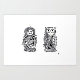 Babushka n Owl Art Print