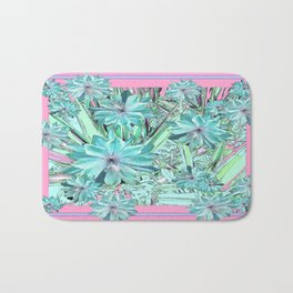 Lilac-Pink-Aqua Pastel Tropical Flowers Art Bath Mat